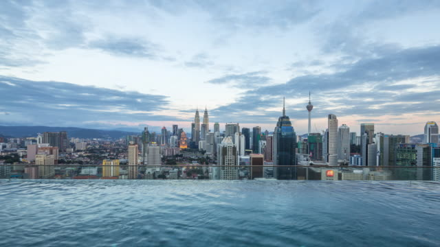 近代的な都市の水の近くの近代的な建物。時間の経過