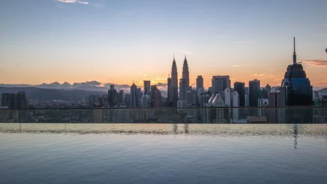moderne gebouwen in de buurt van water in de moderne stad. time-lapse