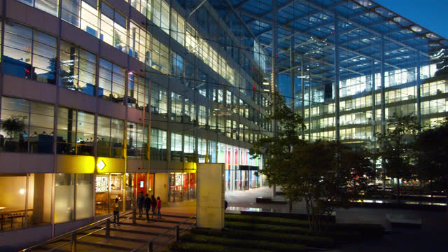 modern business center. night. london - office block exterior stock videos & royalty-free footage