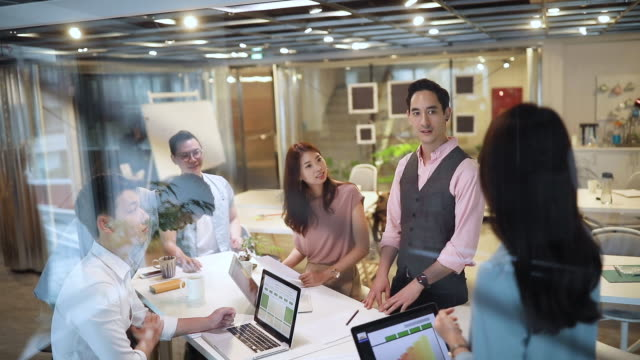 modern business office with multi-ethnic team - coworking stock videos & royalty-free footage