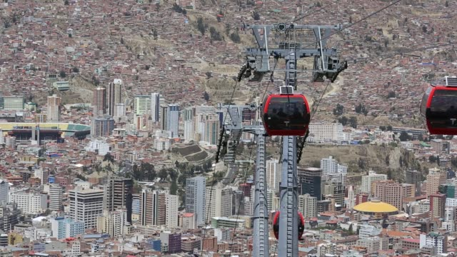 modern cable car system in la paz, bolivia. - la paz bolivia stock videos & royalty-free footage