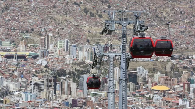 modern cable car system in la paz, bolivia. - car interior stock videos & royalty-free footage