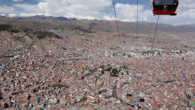a modern cable car system in la paz bolivia - car interior stock videos & royalty-free footage