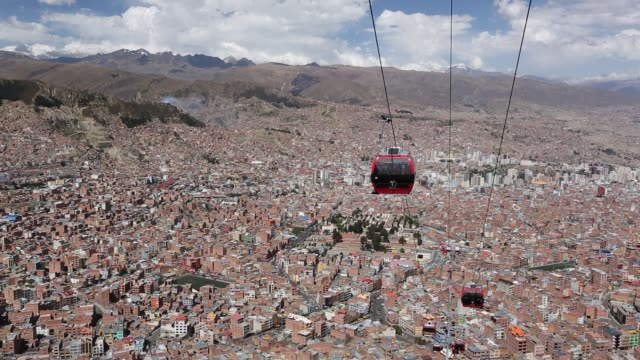 a modern cable car system in la paz, bolivia. - ボリビア点の映像素材/bロール