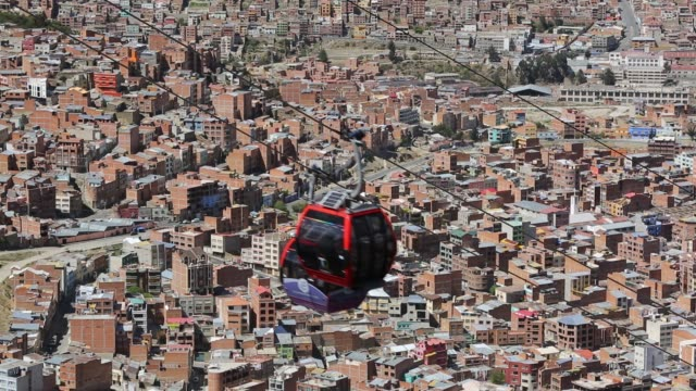 a modern cable car system in la paz, bolivia. - la paz region la paz stock-videos und b-roll-filmmaterial
