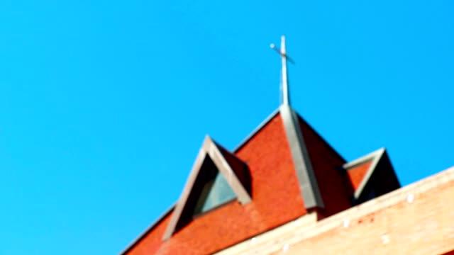 Modern church building against blue sky.
