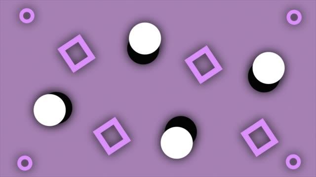 vídeos y material grabado en eventos de stock de círculo moderno y forma rectangular cuadrada de moda fondo animado, estilo retro formas geométricas, diapositivas satisfactorias verano, líneas finas abstractas se mueven sin fin - imagen virada
