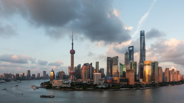 tl ws ha modern city downtown district transition / shanghai, china - world trade organisation stock videos & royalty-free footage