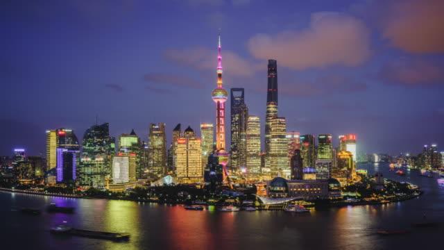 modern cityscape and skyline of Shanghai during sunset,timelapse