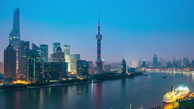 modern cityscape and skyline of shanghai - oriental pearl tower shanghai stock videos & royalty-free footage