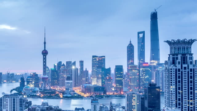 modern cityscape, skyline of Shanghai from night to day,timelapse.