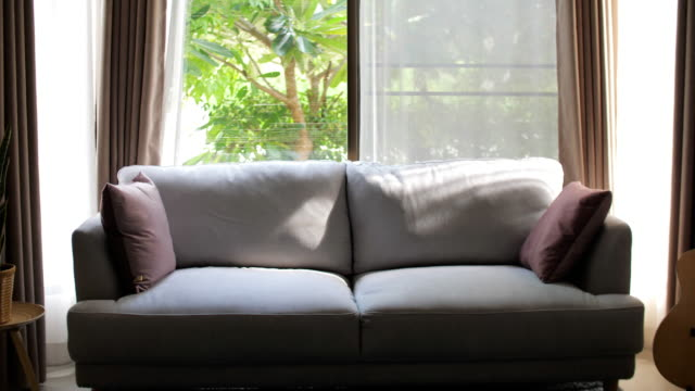 modern clean living room with sunlight - sofa stock videos & royalty-free footage