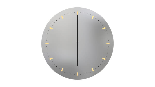 Modern clock face with hands moving through 24 hours backwards