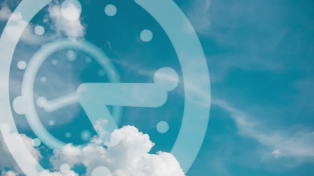 Modern Clock with Clouds, Passing Time Footage