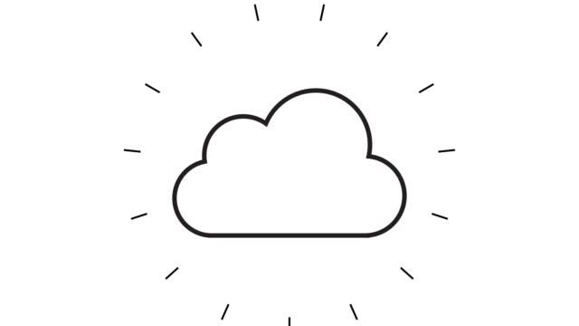 白い背景上の現代クラウドコンピューティングラインアイコンアニメーション - アイコン点の映像素材/bロール