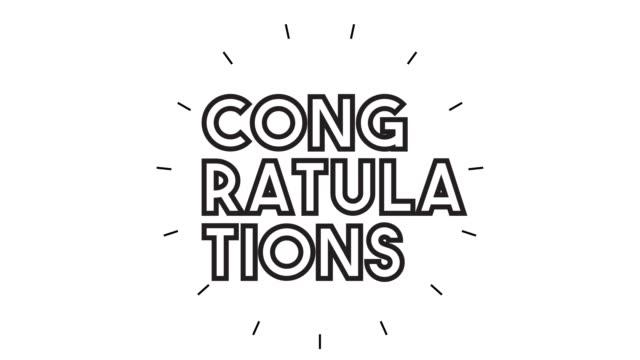 vidéos et rushes de animation moderne d'icône de ligne de ligne de « félicitations » sur le fond blanc - féliciter