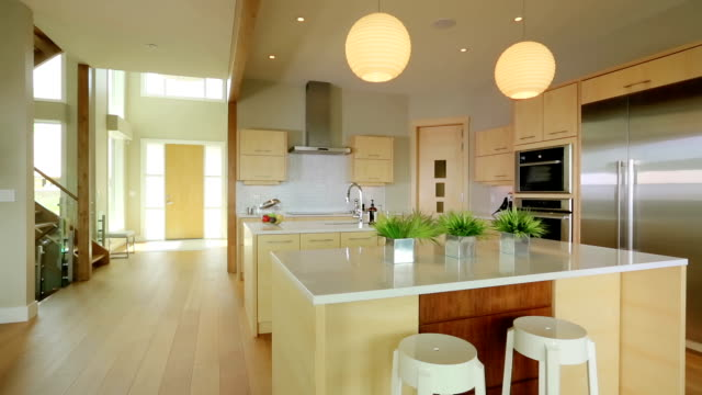 modern contemporary kitchen with hardwood - kitchen stock videos & royalty-free footage