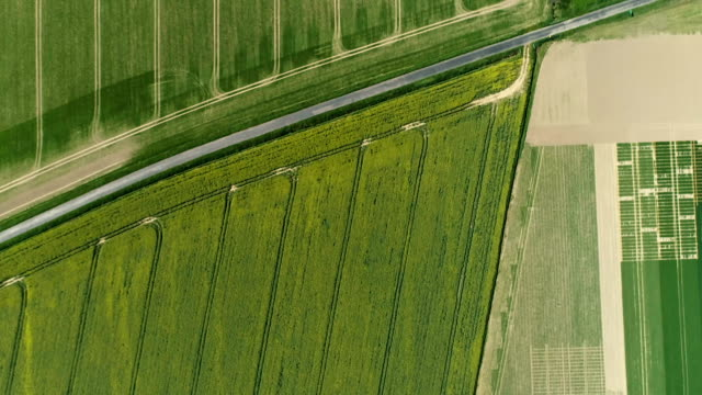 modern countryside landscape. aerial view - agricultural field stock videos & royalty-free footage