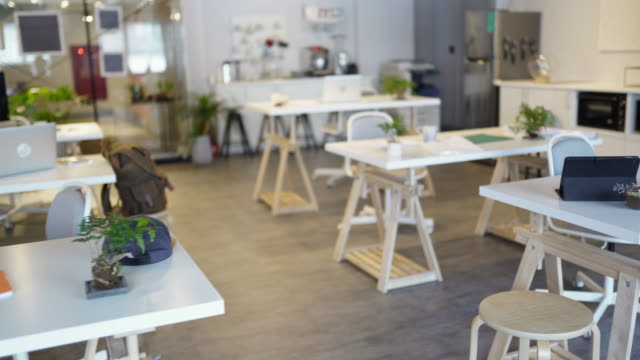 modern coworking space without people - copy space video stock e b–roll