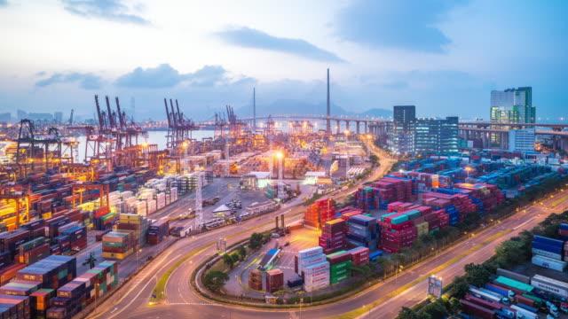 modern dock of Hong Kong  time lapse 4k