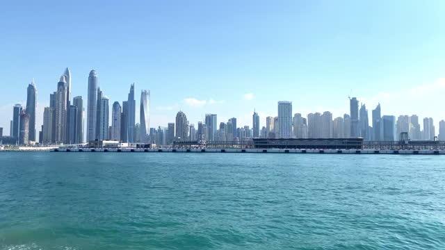 modern dubai waterfront hyper lapse - waterfront stock videos & royalty-free footage