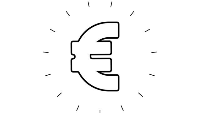 moderne euro line icon animation auf weißem hintergrund - symbol stock-videos und b-roll-filmmaterial