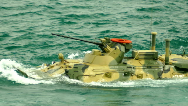 modern floating armored personnel carrier - amphibious vehicle stock videos and b-roll footage