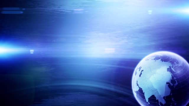 sfondo moderno globe (blu, diritto inserito)-loop - evento storico video stock e b–roll