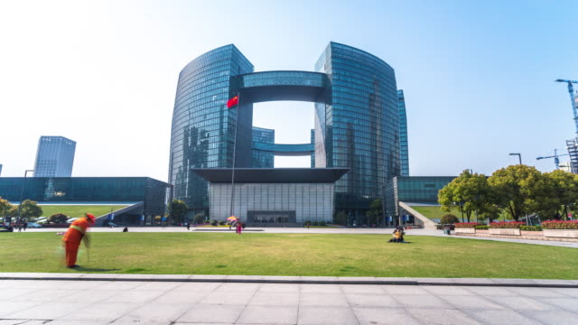 modern government building in hangzhou new city. timelapse 4k hyperlapse - government stock videos & royalty-free footage