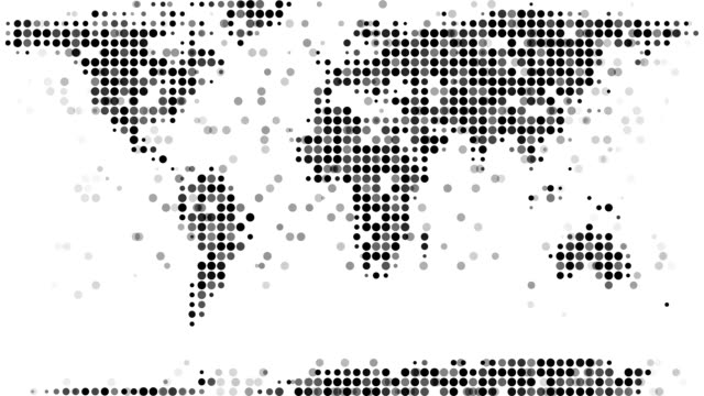 world map : modern halftone style (loop) - spotted stock videos & royalty-free footage