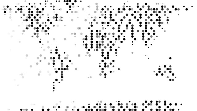 world map : modern halftone style (transition) - spotted stock videos & royalty-free footage