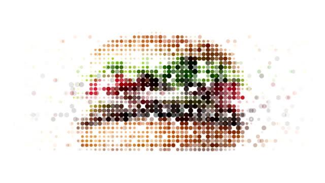 stockvideo's en b-roll-footage met burger : modern halftone style (loop) - hamburger