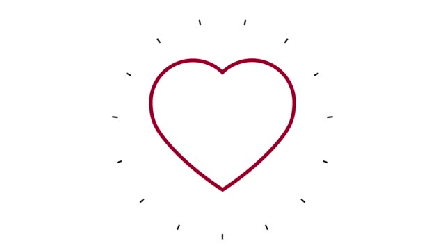 modern heart shape line icon animation on white background - line art video stock e b–roll