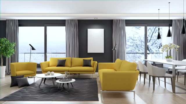 modern interior living room - furniture stock videos & royalty-free footage