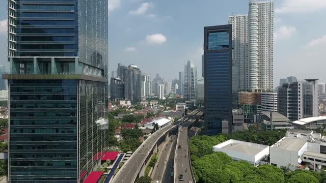 modern jakarta, fly backward - jakarta stock videos & royalty-free footage
