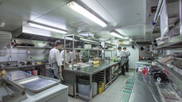 modern kitchen and busy chefs, time lapse.