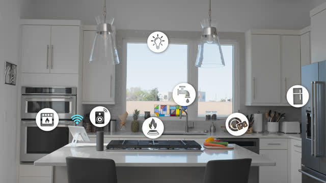 modern kitchen containing various smart technology - internet of things stock videos & royalty-free footage