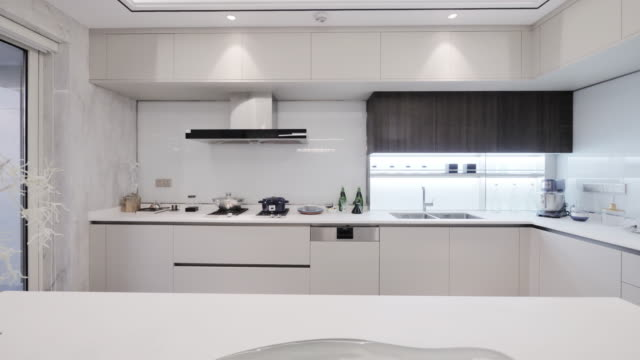 modern kitchen interior - home showcase interior stock videos & royalty-free footage