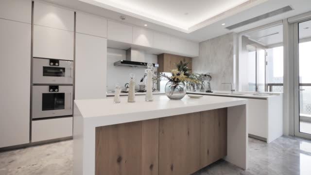 modern kitchen interior - kitchen stock videos & royalty-free footage