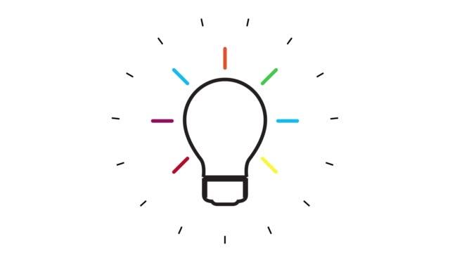 白い背景上の現代電球ラインアイコンアニメーション - インフォグラフィック点の映像素材/bロール
