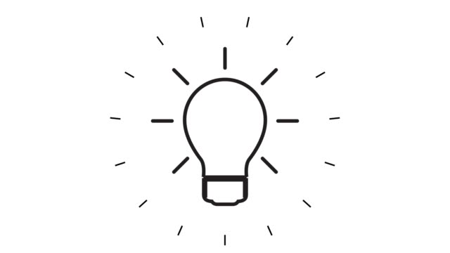 modern light bulb line icon animation on white background - ideas stock videos & royalty-free footage