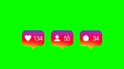 4K Modern like pink icon animation. Green screen.