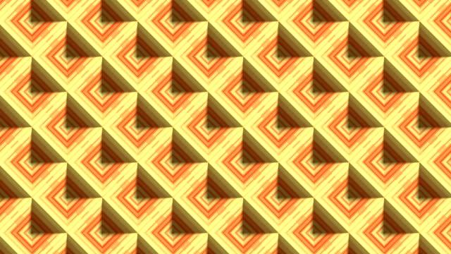vídeos de stock, filmes e b-roll de arte moderna de linha perfeita animação padrão de loop. diamantes listrados coloridos de mosaico 3d renderização de fundo. 4k, uhd - rombo