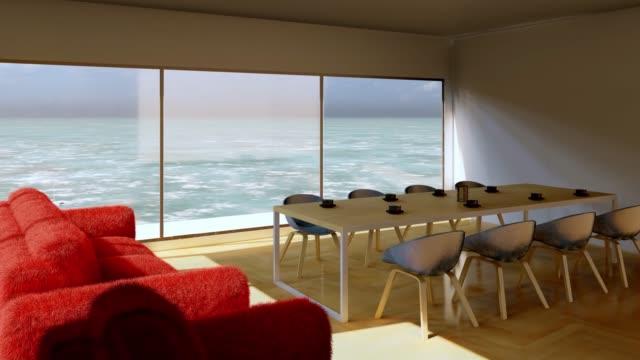 stockvideo's en b-roll-footage met moderne woonkamer met uitzicht op zee - dining room