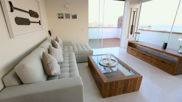 modern lounge with balcony - indoors stock videos & royalty-free footage