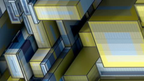 色付きの等角長方形の形状を持つ現代の低ポリデジタルシームレスなループアニメーションパターン。3d レンダリングの背景 hd - 投影図点の映像素材/bロール