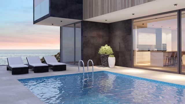 modern luxurious villa with swimming pool. - holiday villa stock videos & royalty-free footage
