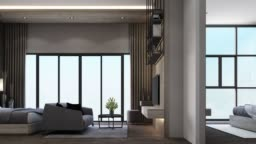 Modern luxury bedroom and living area with wooden and marble texture 3d rendering
