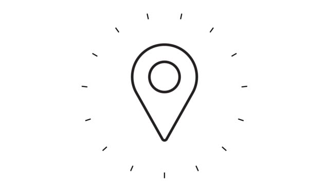 modern map pointer line icon animation on white background - line art video stock e b–roll