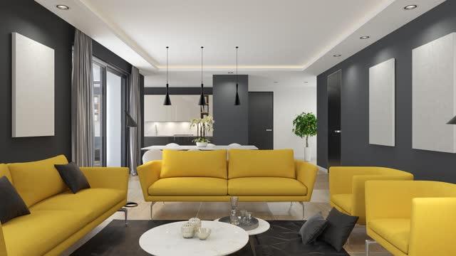 modern minimalistisk lägenhetsinredning. vardagsrum med kök och matsal - liquid crystal display bildbanksvideor och videomaterial från bakom kulisserna